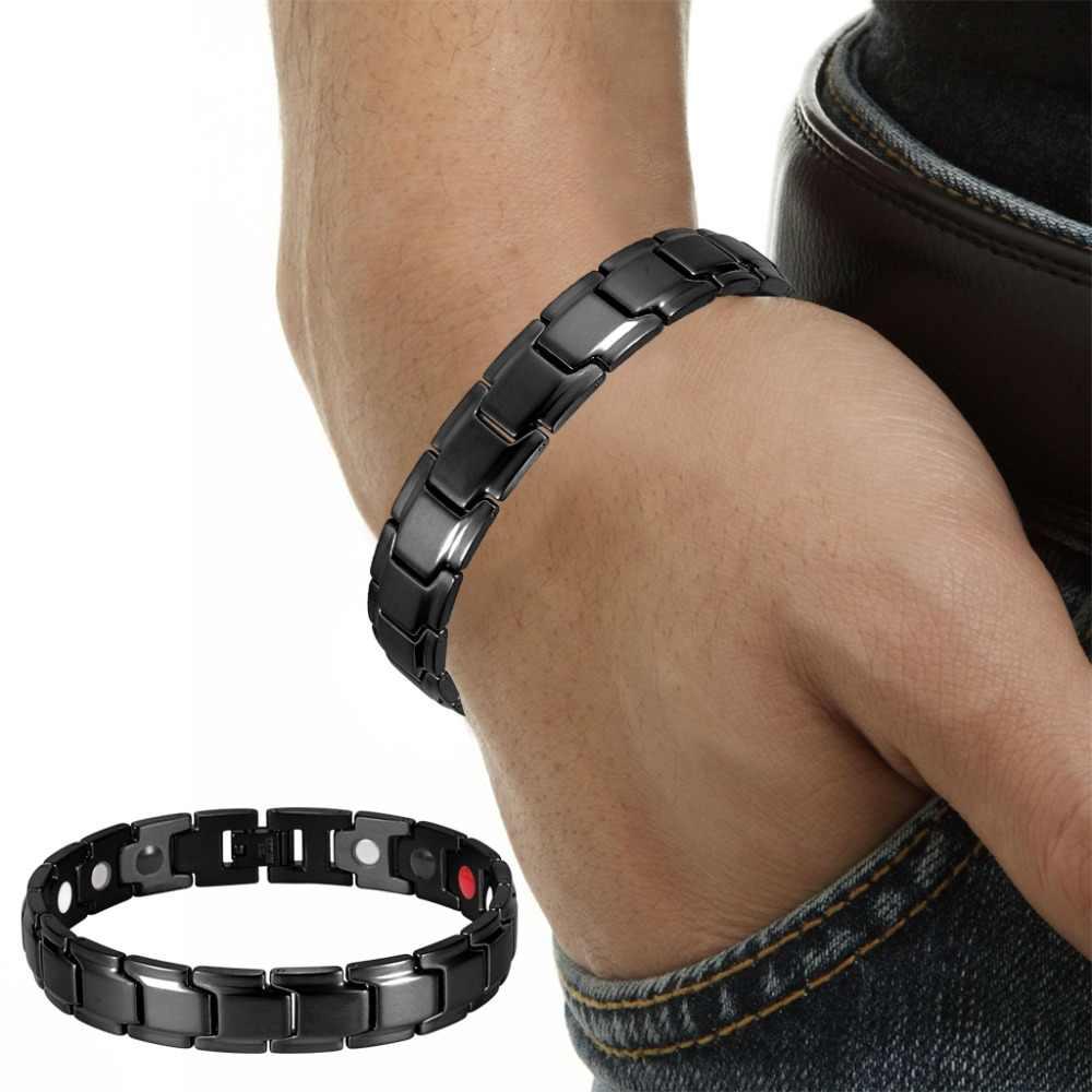 Pulsera de poder Rainso de acero inoxidable negro a la moda, pulsera de poder saludable para hombres, pulseras de eslabones Bio magnéticos 4 en 1, OSB-1540BK