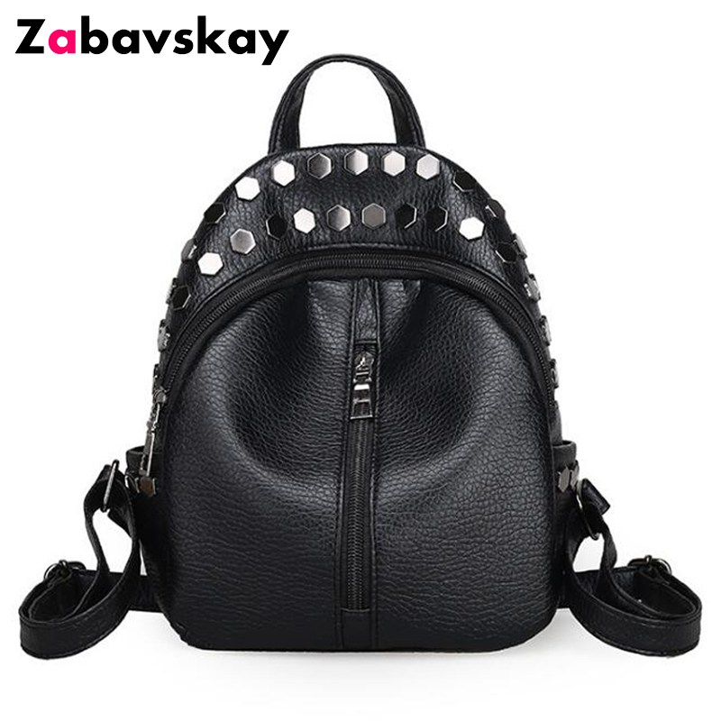 2018 Fashion small women backpacks small rivet zipper pu leather student backpack Leisure backpack girls women's backpack DJZ159 toposhine small rivet women backpacks fashion pu leather women shoulder bag rivet small ladies backpack girls school bags 1751