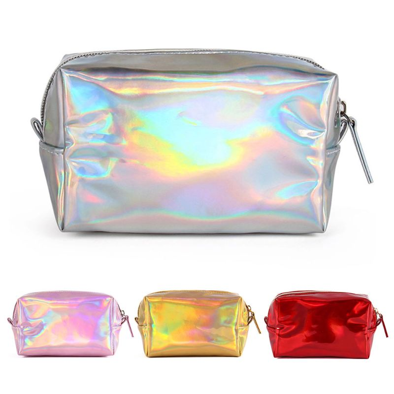 THINKTHENDO Women Hologram Holographic Pencil Bag Zipper Pouch Handbag Makeup Laser Case Storage Girl Leather Cosmetic Cases