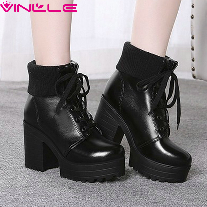 Fantastic  Women Motorcycle Boots Genuine Leather Thick Heel Ankle Boots Plus