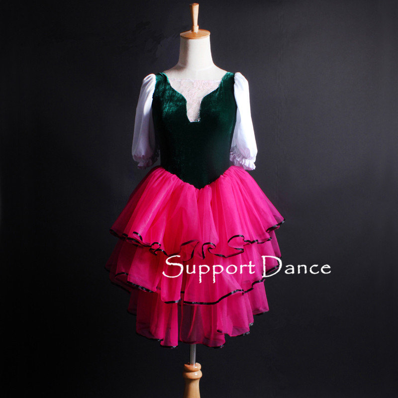 Girls Velvet Lace Ballet Tutu Dress Women Palace Style Puff Sleeve Performance Costume Support Dance C324