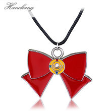 HANCHANG Cartoon Anime Sailor Moon Necklace Red Bowknot Tie Pendant Rope Link Necklace Free Shipping(China)