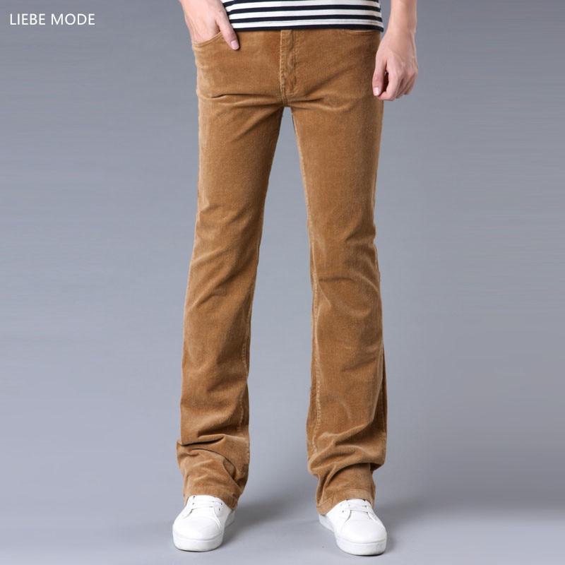 2019 Spring Autumn Mens Slim Fit Corduroy Flared Trousers Men Casual Velvet Bell Bottom Pants Bootcut Man Black Red Brown Khaki