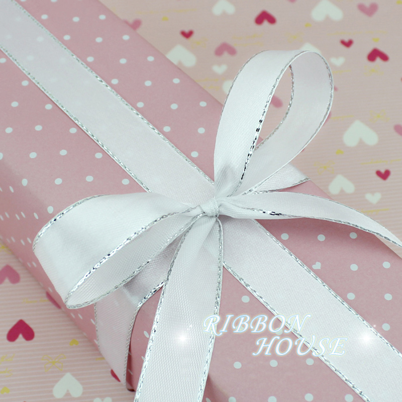 25yards roll White Silver Edge Satin Ribbon Wholesale high quality gift packaging Christmas ribbons 6 (25yards/roll) White Silver Edge Satin Ribbon Wholesale high quality gift packaging Christmas ribbons (6/10/20/25/40mm)