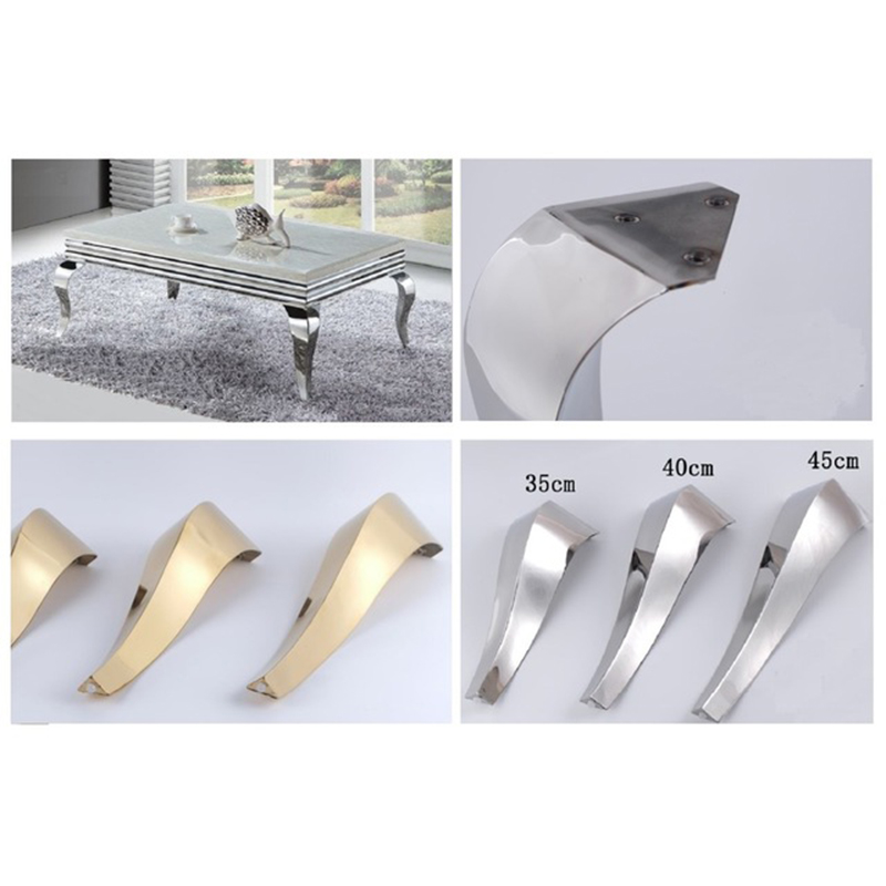 2Pcs  Shiny Gold Stainless Steel Furniture Bath Tea Coffee Stool Bar Sofa Chair Leg Legs Feet S Snake European