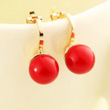 2018 Red Imitation Pearl Earrings Fashion Jewelry Female Exquisite Elegant White Imitated Pearl Ear Clip Gift Wedding Party