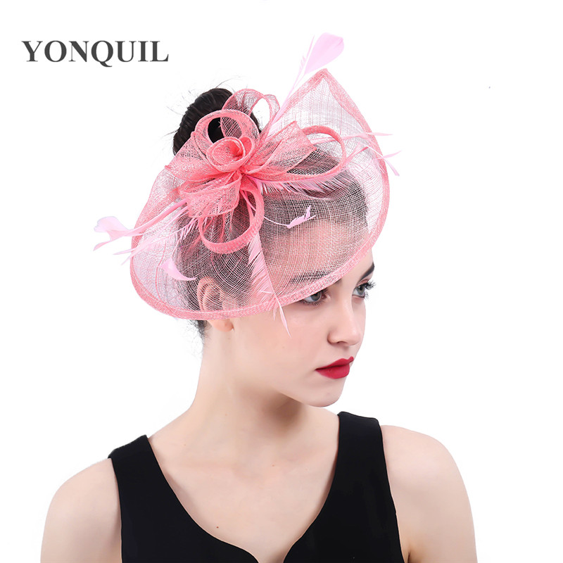Cheap Sale Elegant Womens Net Navy Pink Fascinator Hat Bridal Feather Hair Clips Headwear Philippines Sinamay Ladies Days Tea Chapeau Caps