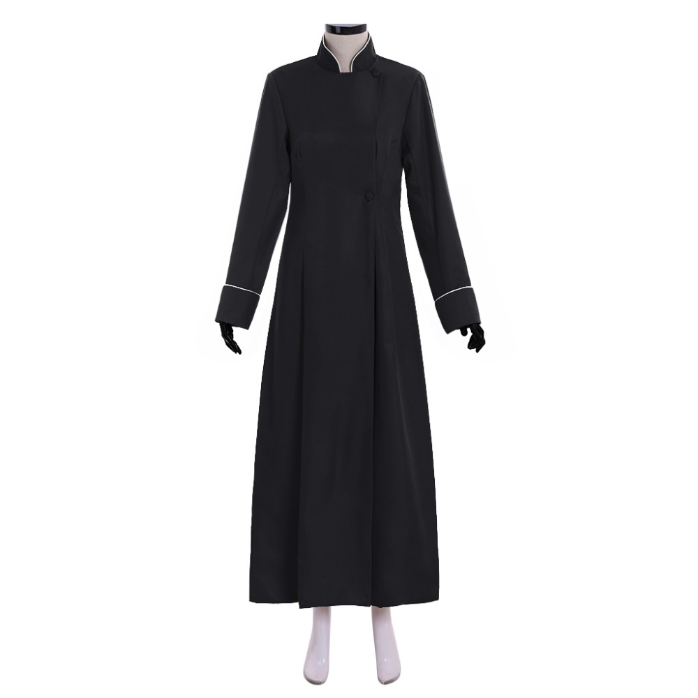 Cosplaydiy Lady's Winchester Cathedral Choir Cassock Robe Costume Adult Mens Black Cassock With Piped Cuffs And Collar L320