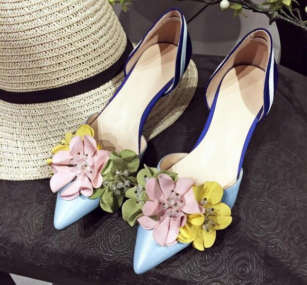 2017 spring summer flower pumps women fashion mixed colors ladies pumps sexy pointed toe med heels shoes shallow vacation shoes new 2017 spring summer women shoes pointed toe high quality brand fashion womens flats ladies plus size 41 sweet flock t179