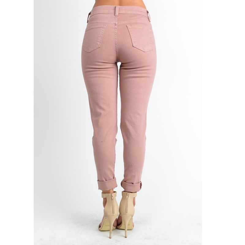 47ff04b0878c4 PADAUNGY Pink Ripped Jeans For Women Straight Pants Torn Night Clubwear  Boyfriend Denim Trousers Plus Size High Waist Jeggings -in Jeans from  Women's ...