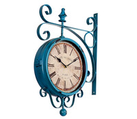 2017 Unique gift retro metal iron home LIVING ROOM Study Corridor decorative double two faced wall   clock   RETRO vintage on wall