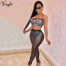 sexy Sparkling diamond Mesh See Through Summer bodysuit women bodycon Black bandage sequin jumpsuit Night club Party overalls sexy black satin mesh perspective summer bodysuit women lace up metal chain bandage jumpsuit beach party night club overalls new