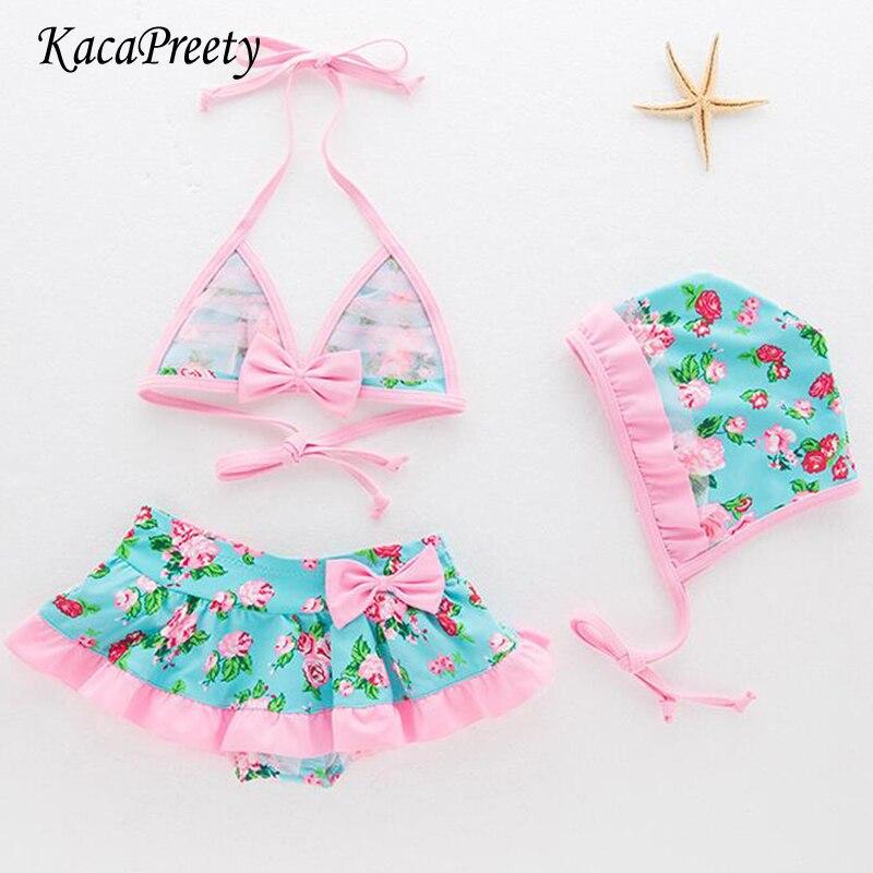 US Kids Girl Floral Swimsuit Swimwear Swimming Bikini Set Bathing Suit Beachwear