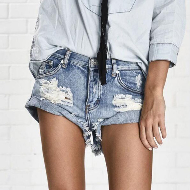Denim Shorts Women Vintage ripped hole fringe denim thong shorts women sexy pocket basic jeans shorts female summer 2017 New