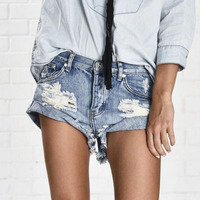 Denim Shorts Women Vintage Ripped Hole Fringe Denim Thong Shorts Women Sexy Pocket One Teaspoon Jeans