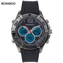 Hombres deportes relojes hombres relojes de cuarzo reloj análogo-digital de doble pantalla LED BOAMIGO marca 30 M impermeable banda de goma reloj de pulsera