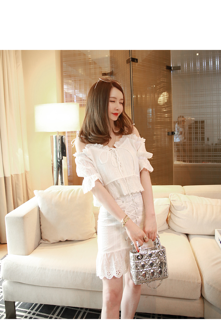 deb98b0cb3 2019 Lace Up Front Cotton Eyelet Embroidery White Lace Sweet Set ...