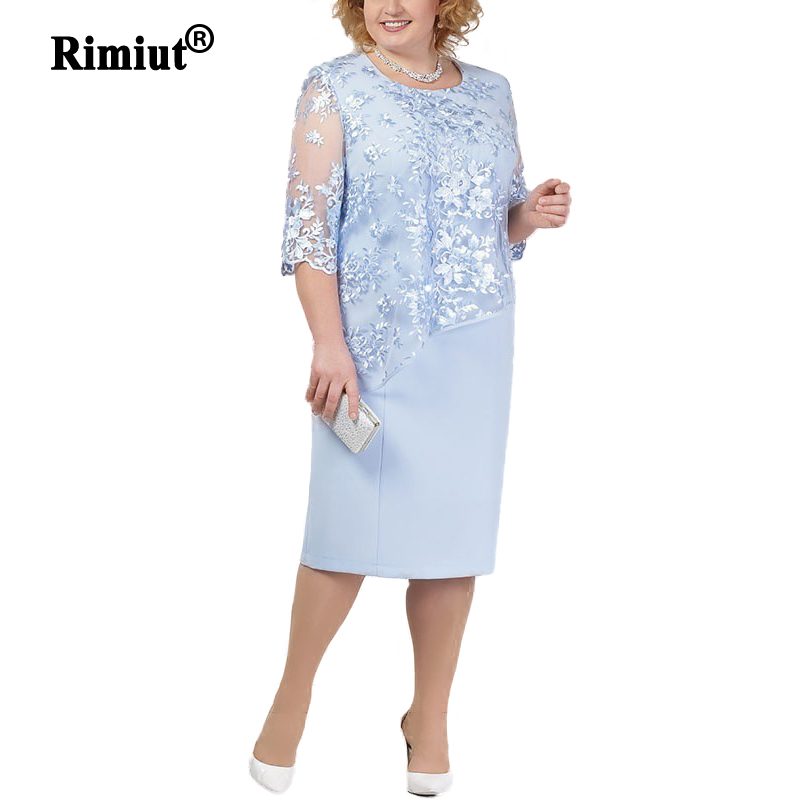 Rimiut New 4XL 5XL Women Lace Flower Dress Elegant Lady Short Sleeve Beauty Party Dresses Vestidos Knee Length Plus Size Dresses in Dresses from Women 39 s Clothing