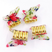 цена на Butterfly Hairpin Blue Crystal Headwear Bowknot Hair Crab Jaw Clips Claws Grasp Grip Clamp for Women Thick Hair Elegant Plastic