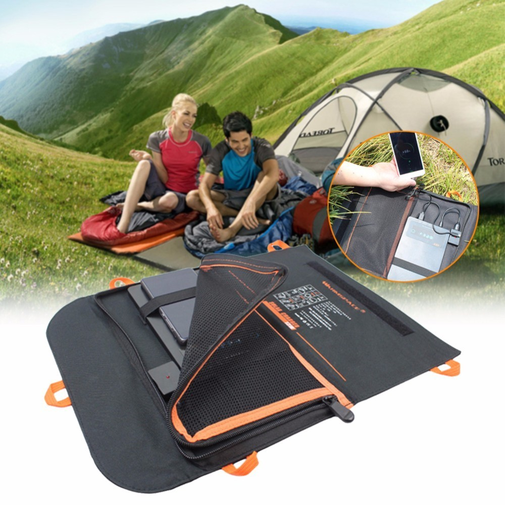 Outdoor Camping Waterproof Solar Powered Charger Power Bank 13W 2A Portable Compact Folding Charging USB Port Power Bank