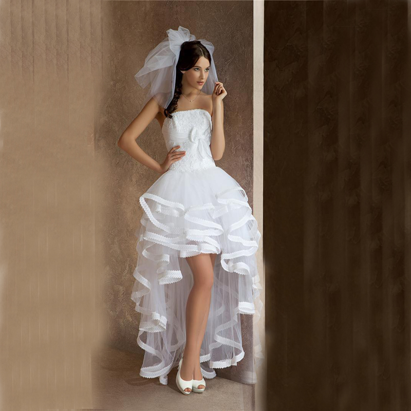 linen wedding dress strapless wedding dresses with hi lo white 5552