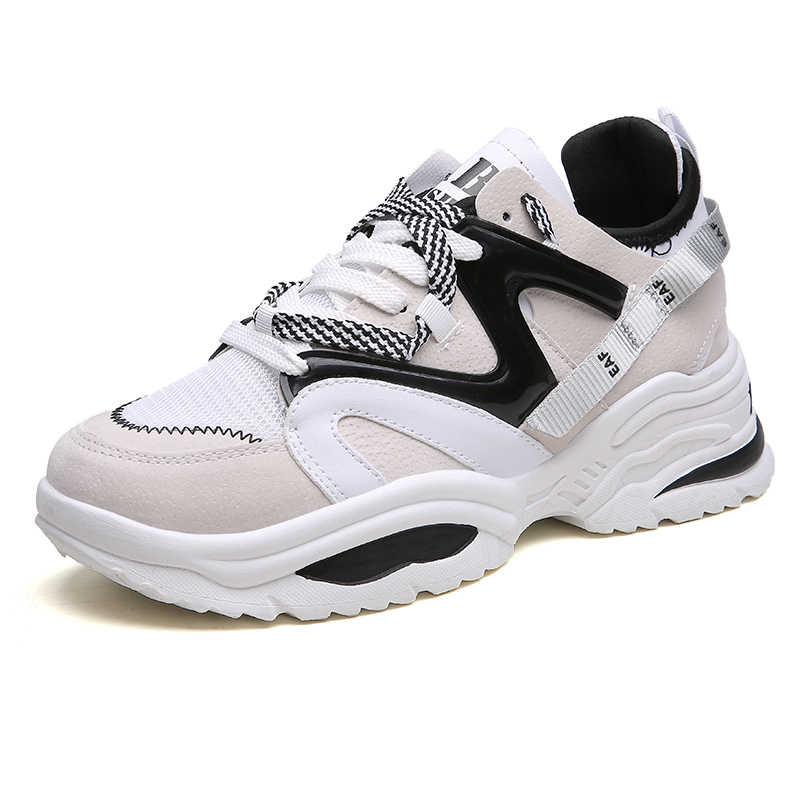 Zapatos informales con estilo para mujer, zapatillas de deporte gruesas con plataforma de cuero para papá, suela gruesa plana Harajuku, cuña Tenis, Cesta blanca para caminar