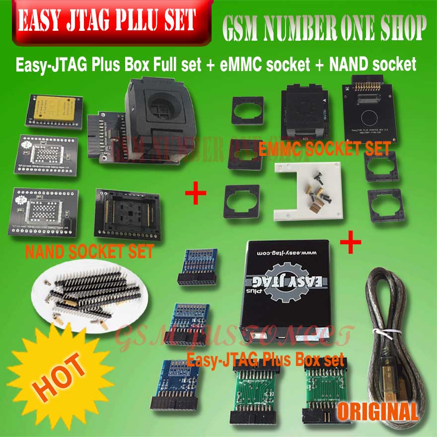 New Version Full Set Easy Jtag Plus Box Easy-Jtag Plus Box+ EMMC Socket +NAND Socket
