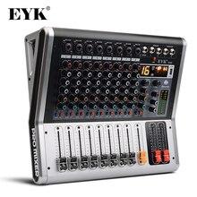 EYK EA80 Console de mixage 8 canaux avec commutateur muet et PFL enregistrement Bluetooth 3 bandes EQ 16 DSP effet mélangeur Audio USB professionnel