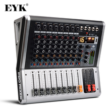 EYK EA80 음소거 및 PFL 스위치가있는 8 채널 믹싱 콘솔 Bluetooth 레코드 3 밴드 EQ 16 DSP 효과 전문 USB 오디오 믹서