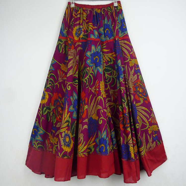 Top Sale Long Flowing Thick Cotton Print Skirts Woman Vintage Skirt  Plus Size Skirt 4 Colos