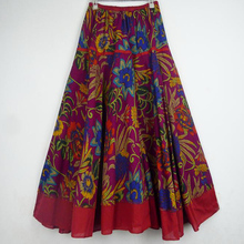 все цены на   Top Sale Long Flowing Thick Cotton Print Skirts Woman Vintage Skirt  Plus Size Skirt 4 Colos онлайн