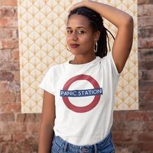 Muse T-Shirt Panic Station T Shirt O Neck Cotton Women tshirt New Fashion Short Sleeve Summer White Oversized Ladies Tee