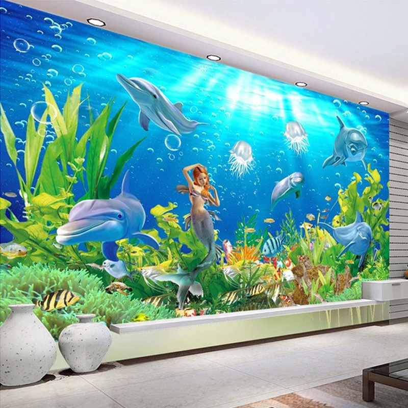 Custom Mural Straw Wallpaper Mermaid Dolphins Underwater World Living Room Sofa TV Backdrop Photo Wallpaper For Bedroom Walls 3D  free shipping 3d personality wallpaper sofa tv coffee house bar backdrop living room bedroom bathrom wallpaper mural