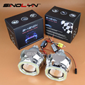SINOLYN Car Styling Automobiles Full Metal HID Bixenon Lens Projector Headlight White COB LED Square Angel Eyes DRL Lamp Kit