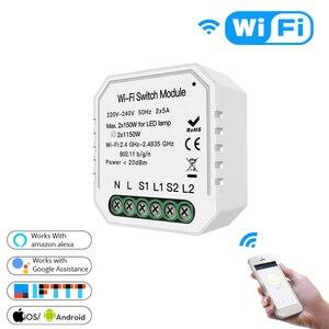 Image 1 - Akıllı ev için Wifi ışık anahtarı Diy modülü akıllı yaşam/Tuya APP uzaktan kumanda, çalışma Alexa Google ev ile 2 Gang 2 yollu.
