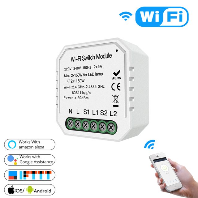 Akıllı ev için Wifi ışık anahtarı Diy modülü akıllı yaşam/Tuya APP uzaktan kumanda, çalışma Alexa Google ev ile 2 Gang 2 yollu.