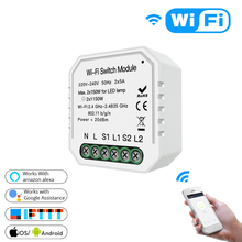 Smart Home for Wifi  Light Switch Diy Module Smart Life/Tuya APP Remote Control,Working with Alexa Google Home 2 Gang 2 Way. 3 way 2 gang wifi smart light switch multi control work with alexa google home no hub required smart life app remote control