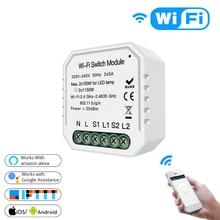 Smart Home voor Wifi Lichtschakelaar Diy Module Smart Leven/Tuya APP Afstandsbediening, werken met Alexa Google Thuis 2 Gang 2 Way.
