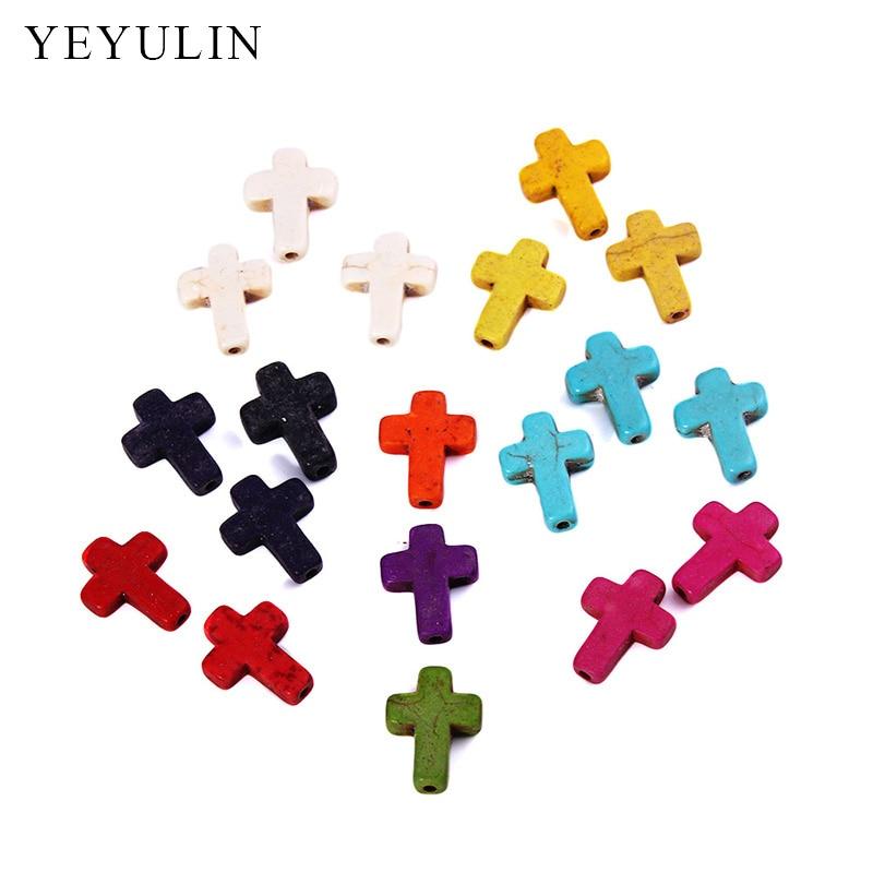 20 штук Красочные натуральный каменный крест кулон подвески для женщин ожерелье браслет