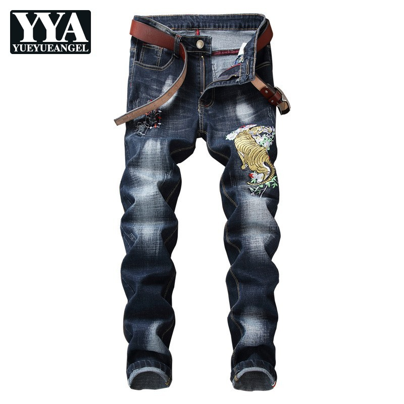 Autumn New Mens Tiger Embroidery Jeans Biker Straight Full Length Skinny Jeans Pencil Pants Casual Washed Denim Pants Streetwear