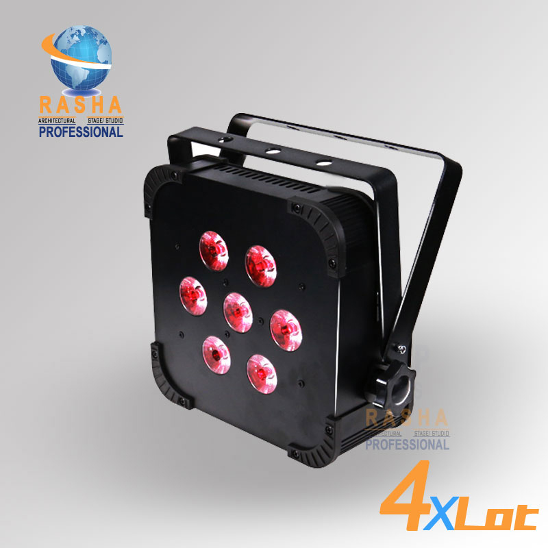 4X LOT Rasha Quad 7pcs*10W RGBA/RGBW 4in1 DMX512 LED Flat Par Light Stage Light Wireless LED Par Can For Disco Stage Party 4x lot rasha quad factory price 12 10w rgba rgbw 4in1 non wireless led flat par can disco led par light for stage event party