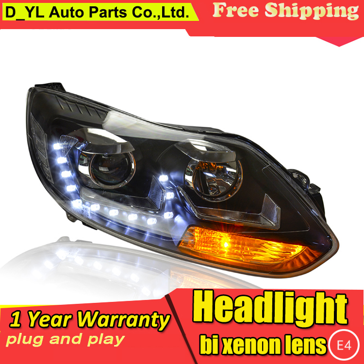 Car Styling Headlights for Ford Focus 2012 2013 LED Headlight for Focus Head Lamp LED Daytime