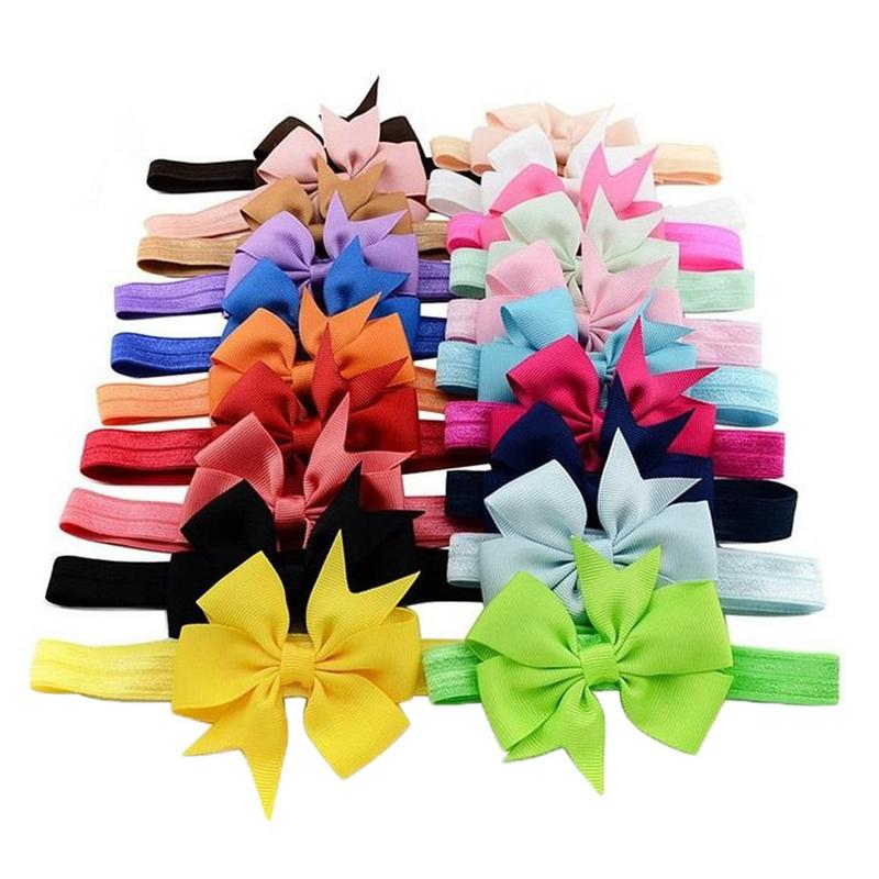20PCS Baby Girls Elastic Hairband Colorful Headwear Baby Hair Band Big Bow Ribbon Dovetail Headband Baby Photography Props
