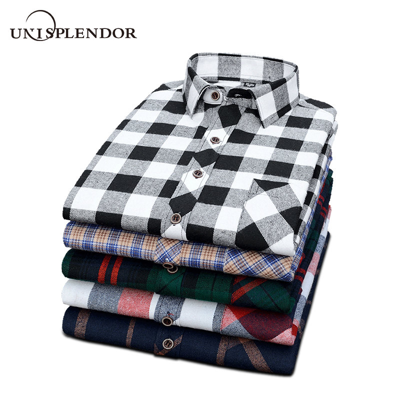 2019 New Men's Plaid Flannel Shirt Plus Size Soft Sanded Spring Autumn Man Shirts Business Casual Male Shirt Long Sleeve YN10417