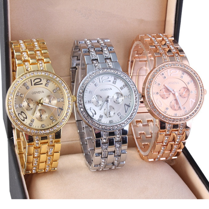 Hot Sale Geneva Alloy Gold Plated Bright Crystal Casual Quartz Watch Fashion Brand Luxury Women Rhinestone Watches Relojes Clock