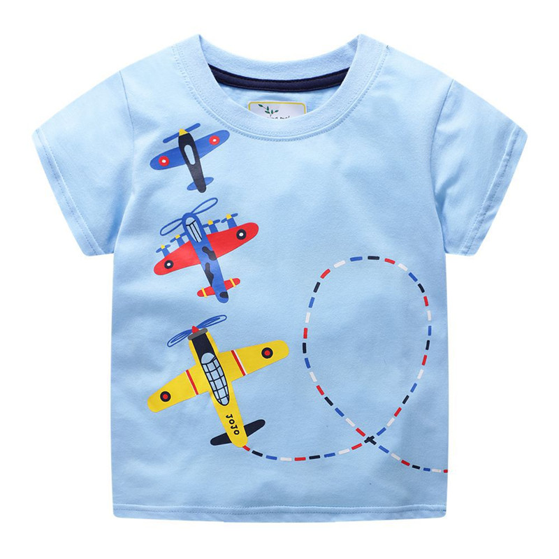 Jumping meters Boys Cartoon aircrafts T shirts Summer Cotton Kids Tees Print character Short sleeve Children Clothes Boy T shirt 1