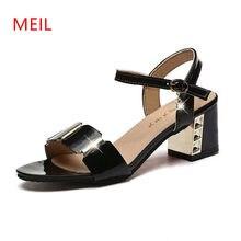 Summer Women Metal Block Heel Shoes Woman Strap Buckle Black White  Gladiator Sandals Women 2018 Sexy Ladies Sandals Big Size 43 3a005023995f