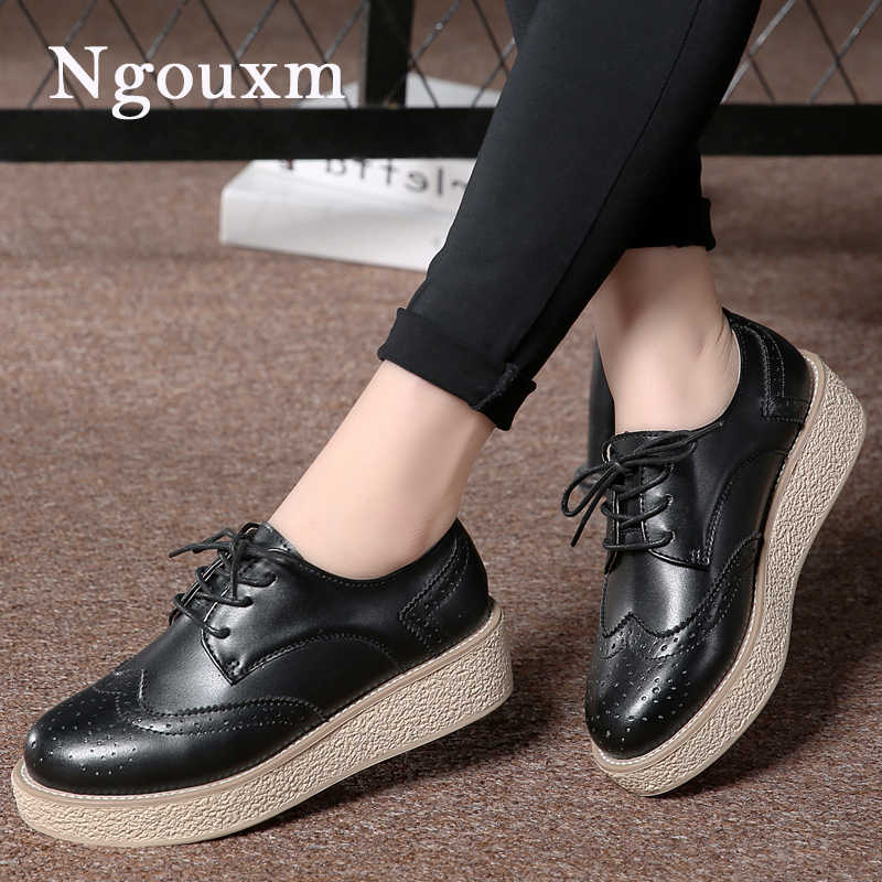3276a4f5cf22b5 Ngouxm Women s Oxfords Flat Platform Shoes Woman Split Leather Flats Lace  Up Footwear Female Brogue Ladies