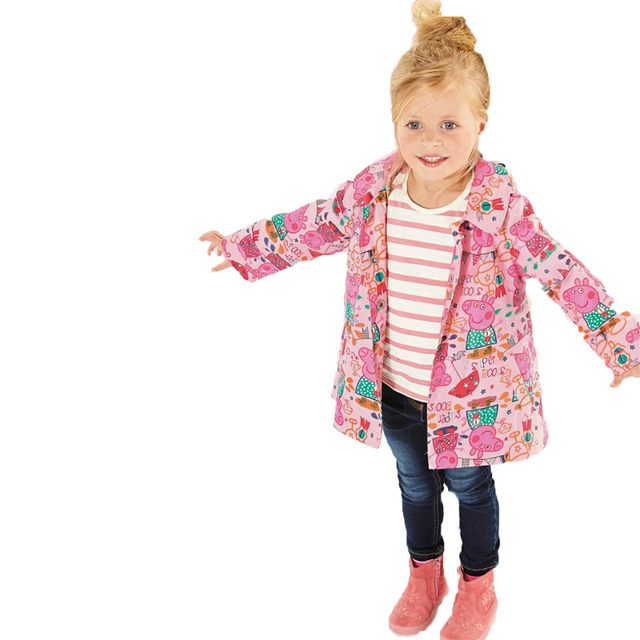 2017 New Spring Children's Clothing Kids Outerwear Fashion Brand Baby Girls Pig Printing Trench Coat Hood Girls Jackets 2-7T