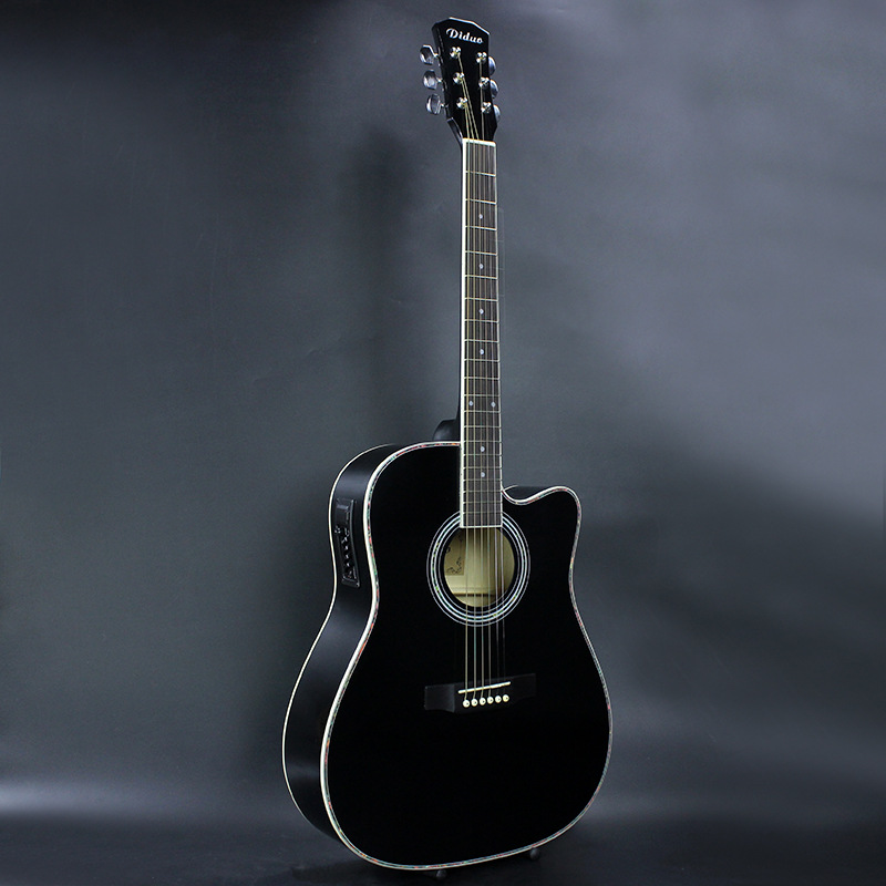 41 Inch Folk Guitar Acoustic Guitar Exquisite Workmanship Gorgeous Appearance Suitable For All Beginners Learning Black 42 inch sapele veneer wood guitar veneer acoustic guitar technique of lacquer bake dumb light suitable for teaching performance